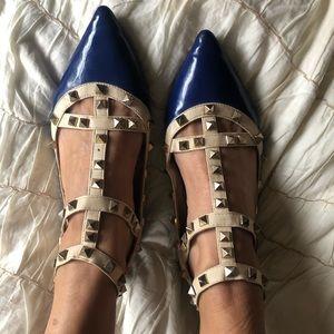 Shoes - Blue / beige Vynil studded flats sz. 7